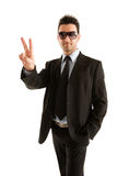 He is a winner. Businessman symbol victory, He is a winner Stock Photo