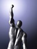 Winner. 3D render of metallic man in hero pose Royalty Free Stock Photography