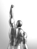 Winner. 3D render of metallic man in winner pose Stock Image