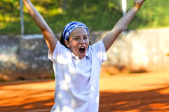 The winner. Outdoor portrait of tennis champion Royalty Free Stock Photos