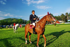 And the winner is... Aurel Cojocariu with his horse Duende on the 4th place at CSIO2*-W & Balkan Tour, Piatra Neamt (Romania) 4-7 june 2009 Royalty Free Stock Image