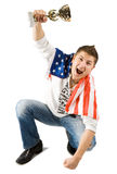 Winner with American flag Royalty Free Stock Images