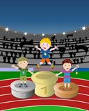 Winner Athletes Podium Stadium Kids. Illustration of a prize-giving of three winner kids on a athletics track in a stadium. Eps file is available Royalty Free Stock Photos