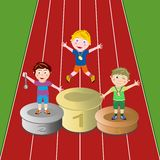 Winner athletes. Illustration of a prize-giving of three winner kids on a athletics track Stock Image