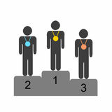 Winner athletes standing on the podium vector. Winner athletes standing on the podium - black silhouette vector Stock Photos