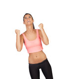 Winner attractive girl with sports clothes Royalty Free Stock Photography