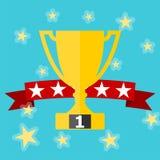 Winner award banner vector illustration on blue background. Winner award banner vector illustration, simple vector illustration royalty free illustration