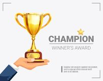 Winner Award Champion Trophy Poster. Sport major event winner champion award presentation shining with golden trophy in hand with lettering vector illustration Stock Photography