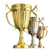 Winner award cups : golden silver and bronze signs. 3D image vector illustration