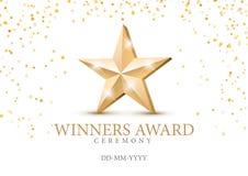 Winner award. gold star 3d symbol