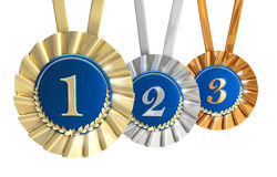 Winner awards golden silver and bronze signs Royalty Free Stock Images