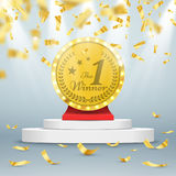 Winner background. First place of competition. Podium with spotlights and confetti. Vector illustration Stock Photography