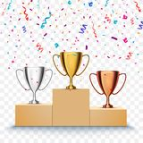 Winner background. First, second and third place of competition. Podium with trophy cups and confetti isolated. Winner background. First place of competition Royalty Free Stock Images