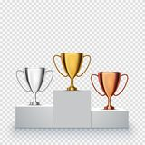 Winner background. Trophy Cups on prize podium. Vector illustration Royalty Free Stock Images