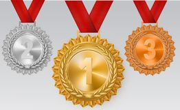 Winner background with golden, silver and bronze laurel wreaths with ribbons and first, second and third place signs on stock illustration