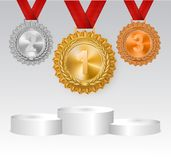 Winner background with golden, silver and bronze laurel wreaths with ribbons and first, second and third place signs royalty free illustration