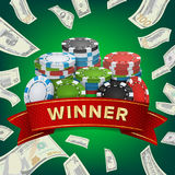 Winner Background Vector. Gambling Poker Chips Lucky Jackpot Illustration. For Online Casino, Playing Cards, Slots. Roulette. Money Stacks. Nightclub Billboard Stock Image