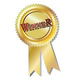 Winner badge. Award  illustration gold ribbon  isolated over white background Royalty Free Stock Photo