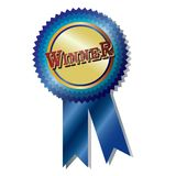 Winner badge. Award  illustration blue ribbon  isolated over white background Royalty Free Stock Image