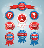 Winner badges and ribbons. Set of modern design elements with long shadows. Vector contains transparent objects and blends Royalty Free Stock Photography