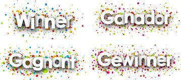 Winner banner with colorful confetti. Stock Image