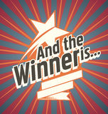Winner banner design. And the winner is... Vector poster design for the winner of the competition. Flat design concept for review sites Royalty Free Stock Images
