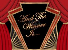 Winner Banner Movie Academy Award First Place Art Logo Sign. Champion win competition stock photo