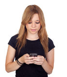 Winner blond woman with black shirt Royalty Free Stock Photography