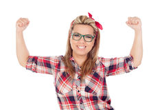 Winner Blonde Girl with glasses. Isolated on a white background Stock Image
