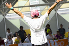 The winner. Bologna,Italy-May 31,2015:athlete thanked the audience after a test indoor sports went well royalty free stock photos
