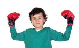Winner boy with boxing gloves Stock Photo