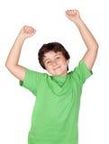 Winner boy with green t-shirt Stock Image
