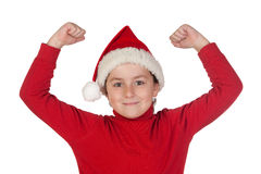Winner boy with santa hat Royalty Free Stock Image