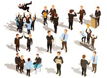 Winner Business People Set. Happy winner male business people qwerty set isolated on white background isometric vector illustration Stock Images