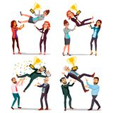 Winner Business People Set Vector. Man, Woman. Throwing Colleague Up. Colleague Celebrating Goal Achievement. First. Prize. Holding Golden Cup. Champion Number Royalty Free Stock Image