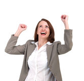 Winner business woman with her hands raised Royalty Free Stock Image