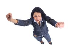 Winner business woman isolated. Top view of winner business woman isolated Royalty Free Stock Photos