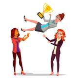 Winner Business Woman Vector. Throwing Colleague Up. Colleague Celebrating Goal Achievement. Holding Golden Cup. Winner Business Woman Vector. Throwing Colleague Stock Photo
