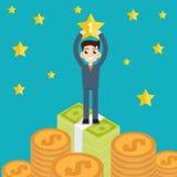 Winner Businessman, best, vector illustration. Winner Businessman, man, money. Vector illustration Stock Images