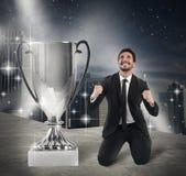 Winner businessman exult Stock Images
