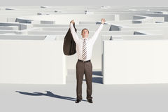 Winner businessman with hands up Royalty Free Stock Image
