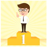The Winner Businessman proudly standing Stock Photo