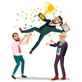 Winner Businessman Vector. Throwing Colleague Up. Colleague Celebrating Goal Achievement. Holding Golden Cup. Champion. Winner Businessman Vector. Throwing Royalty Free Stock Images
