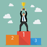 Winner businessman with winning throphy stand on a podium Stock Photography