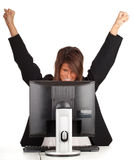 Winner businesswoman with computer a Royalty Free Stock Images