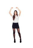 Winner businesswoman in a stylish miniskirt Stock Photo