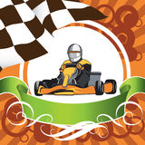 The winner came first. Karting, Layout on a sports theme, Kart, Competition, Championship, Winner Stock Photos