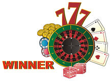 Winner in casino. Word winner with many symbols of casino Royalty Free Stock Photography