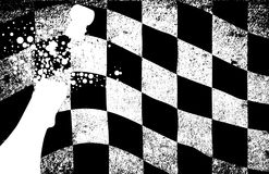 Winner Champagne. A dirty grunge fx chequered race flag with a winner wreath Stock Images