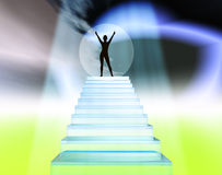 Winner - champion. Winning and successful person at the top of the stairs Stock Photography